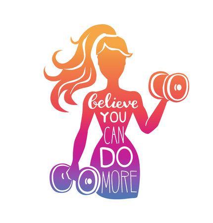 Illustration for Believe you can do more. Motivational vector lettering illustration with silhouette of woman with dumbbells. Hand written phrase and gradient. Inspirational fitness card, poster or print design. - Royalty Free Image