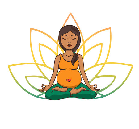 Ilustración de Prenatal yoga. Vector illustration of young cute Indian girl meditating in lotus position with flower petals in green and yellow gradient colors behind. Pregnant woman doing meditation practice. - Imagen libre de derechos