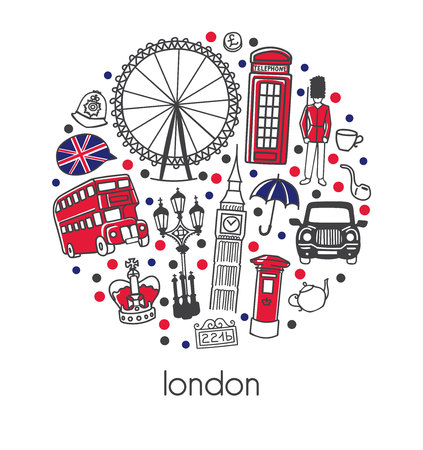 Ilustración de London. Modern vector illustration with sign, symbols, black and white. - Imagen libre de derechos
