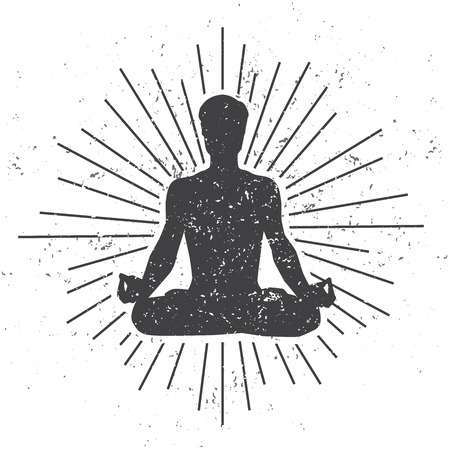 Ilustración de Vector illustration of a male silhouette in meditating lotus pose with scroll and sunburst on white background with dirty grunge texture. Yoga concept print, poster, card and flyer design for men. - Imagen libre de derechos