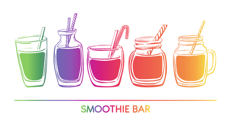 Ilustración de Vector illustration Smoothie. Collection of hand drawn cups, mugs and glasses. Bright elements in colorful gradient isolated on white background. Horizontal card, banner. - Imagen libre de derechos