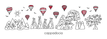 Illustration pour Vector modern illustration Cappadocia with hand drawn doodle turkish symbols. Horizontal panoramic scene for banner or print design. Simple minimalistic style with black outline and red elements. - Vector - image libre de droit
