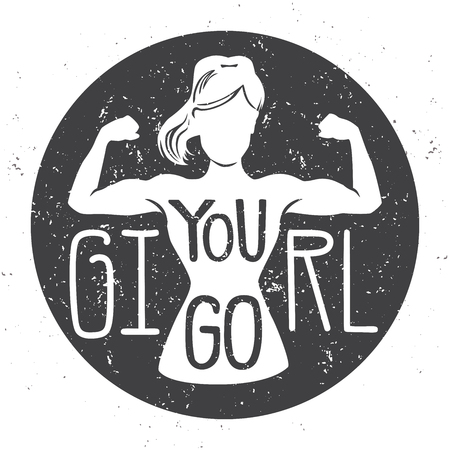 Ilustración de You go, girl. Motivational vector fitness illustration. Female silhouette doing bicep curl with hand written grunge background with grunge texture. Inspirational card, poster or banner. - Vector - Imagen libre de derechos