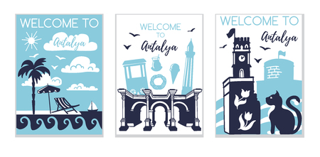 Illustration pour Welcome to Antalya. Travel to Turkey concept. Set of three illustrations with silhouette of Antalya in modern flat style. Card, poster, flier, print design for travel promotion. - image libre de droit