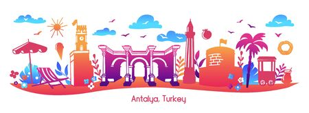 Illustration pour Bright modern vector illustration Antalya, Turkey. Horizontal panoramic scene of famous turkish symbols and landmarks. Travel card, poster, print design in flat style with colorful gradient. - image libre de droit