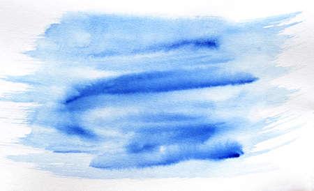 Foto de blue watercolor brush stroke background. Hand drawn texture. - Imagen libre de derechos