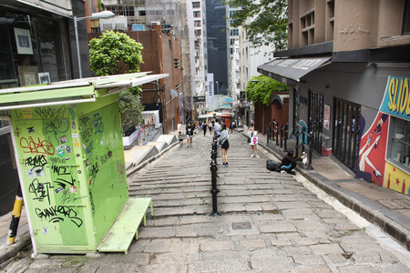 Foto für Chinese people with foreigner travelers walking travel and visit on the road at Hollywood street in Central and Sheung Wan on September 9, 2018 in Hong Kong, China - Lizenzfreies Bild