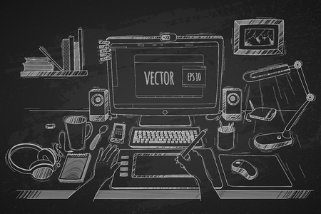 Illustrazione per Vector illustration desktop designer. Made in sketch style on a black chalkboard background. Organization of modern business workspace in the office. - Immagini Royalty Free
