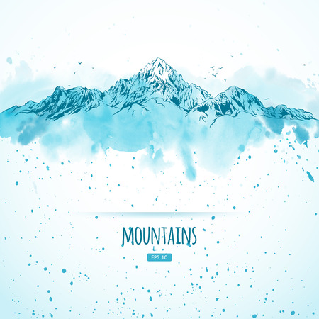 Blue mountains, hand-drawn with ink and watercolors in sketch style. Vector illustration.