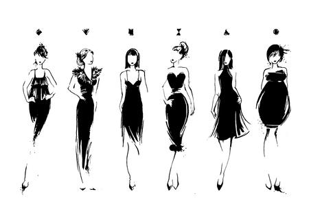 Ilustración de Fashion models in sketch style. Collection of evening dresses. Female body types. Hand drawn vector illustration EPS10 - Imagen libre de derechos