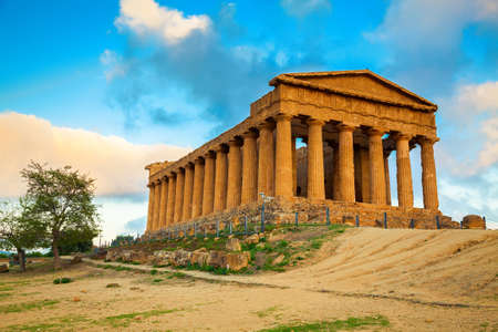 Photo for Greek ruins of Concordia Temple in the Valley of Temples near Agrigento, Sicily - Royalty Free Image