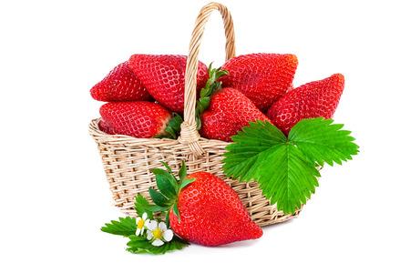 Foto de Strawberry basket closeup. Fresh strawberries isolated on white background. - Imagen libre de derechos