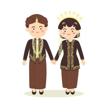 Illustration for Central Java Indonesia Wedding Couple, cute Indonesian Black Javanese traditional clothes costume bride and groom cartoon vector illustration - Royalty Free Image