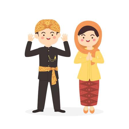 Illustration pour Betawi Jakarta Indonesia Couple, cute Abang None traditional clothes costume man woman cartoon vector illustration - image libre de droit