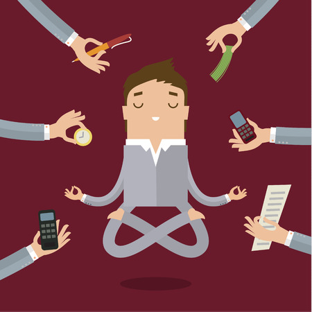 Illustrazione per Businessman doing Yoga to calm down the stressful emotion from multitasking and very busy working. - Immagini Royalty Free