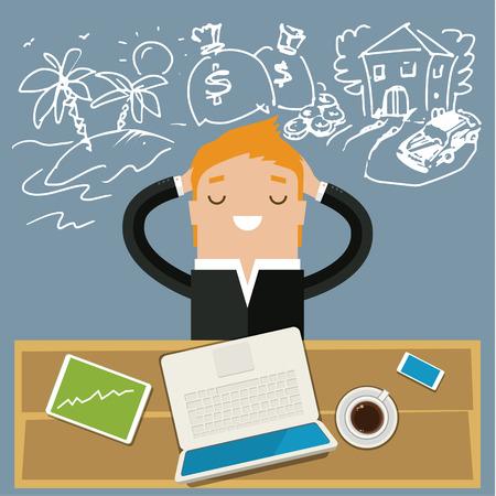 Ilustración de Business man dreaming. Concept of big dreams - Imagen libre de derechos