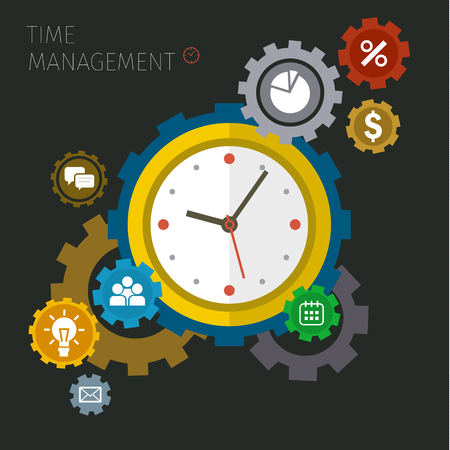 Illustration pour Flat design vector business illustration. Concept of effective time management. - image libre de droit