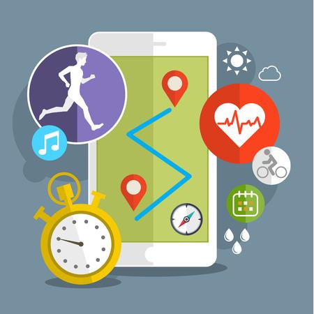 Illustration pour Smart phone with sport icons. Fitness app concept on touchscreen. Flat design vector illustration - image libre de droit