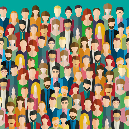 Illustrazione per The crowd of abstract people. Flat design, vector illustration. - Immagini Royalty Free