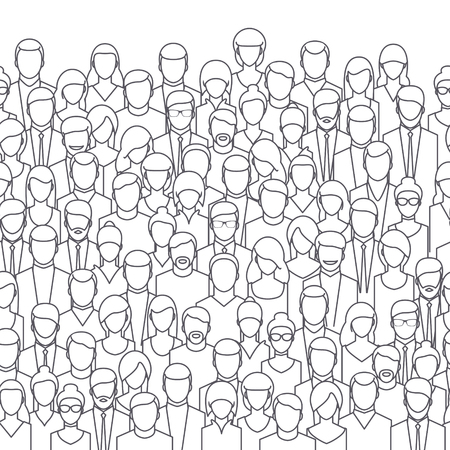 Illustrazione per The crowd of abstract people, line style. Flat design, vector illustration. - Immagini Royalty Free