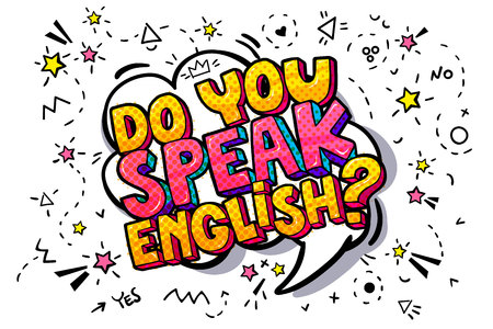 Ilustración de Do you speak English? in a chat or message cloud. Concept of studying English. Vector illustration. - Imagen libre de derechos