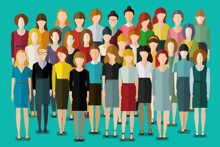Illustrazione per Group of business women. Crowd of happy young pretty unrecognizable women. International women s day. Flat design, vector illustration. - Immagini Royalty Free