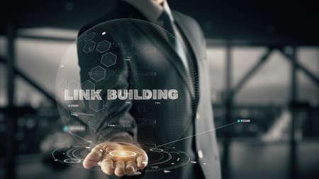Foto de Link Building with hologram businessman concept - Imagen libre de derechos