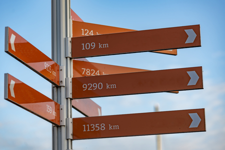 Photo pour Direction pole indicating the direction of several cities and the distance from the current position in kilometer unit - image libre de droit