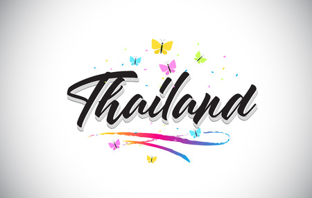Illustration pour Thailand Handwritten Word Text with Butterflies and Colorful Swoosh Vector Illustration Design. - image libre de droit