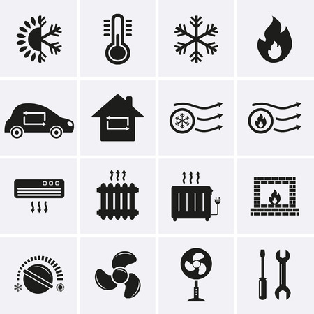 Photo for Heating and Cooling Icons  Vector - Royalty Free Image