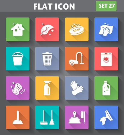 Illustration pour application Cleaning Icons set in flat style with long shadows. - image libre de droit