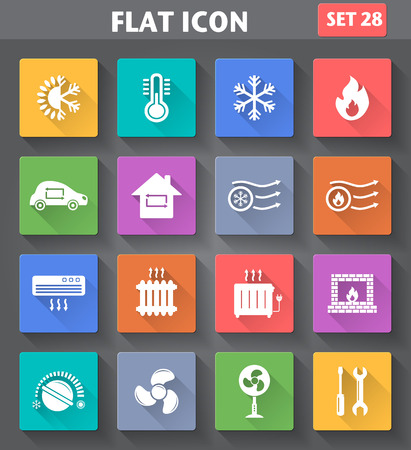 Ilustración de application Heating and Cooling Icons set in flat style with long shadows. - Imagen libre de derechos