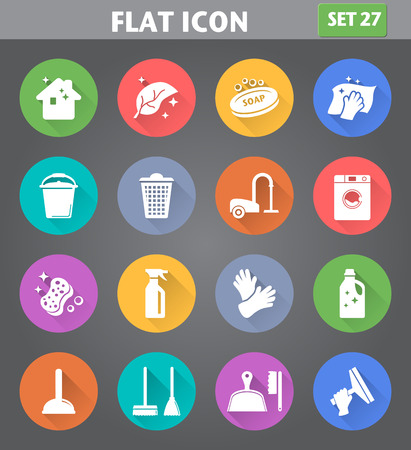 Illustration for Vector application Cleaning Icons set in flat style with long shadows. - Royalty Free Image