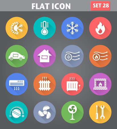 Ilustración de Vector application Heating and Cooling Icons set in flat style with long shadows. - Imagen libre de derechos
