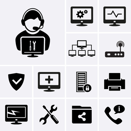 Illustration pour Computer technician icons.  - image libre de droit