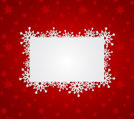 Illustration pour Red Christmas background with paper snowflakes. Vector illustration - image libre de droit