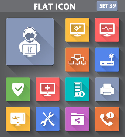 Photo pour Vector application Computer Technician Icons set in flat style with long shadows. - image libre de droit