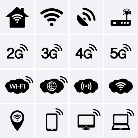 Illustration pour Wireless and Wifi icons. 2G, 3G, 4G and 5G technology symbols. Vector - image libre de droit