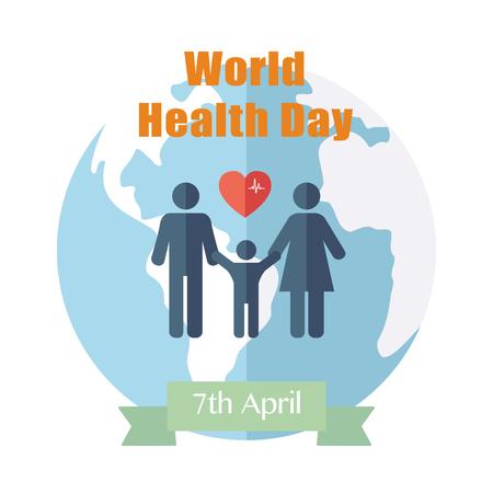 Photo pour World Health Day. Concept with globe. Vector - image libre de droit