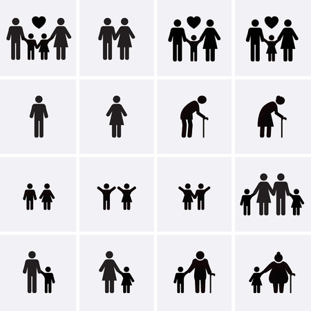 Illustration pour Family Icons. Vector set - image libre de droit