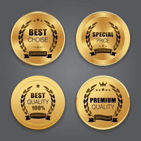 Illustration for Golden metal badges. Label collection - Royalty Free Image