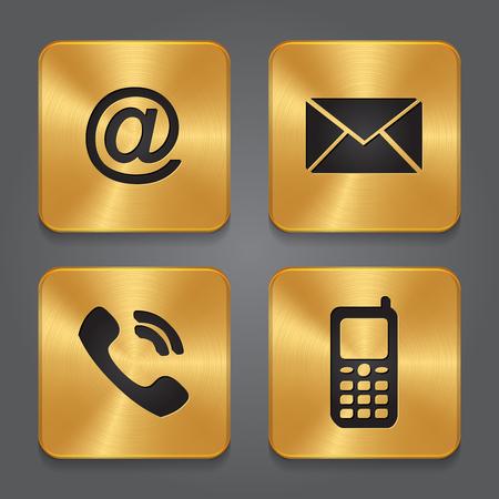 Illustration pour Gold Metal contact buttons - set icons - email, envelope, phone, mobile. Vector - image libre de droit
