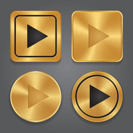 Ilustración de Gold metalic Play button, set app icons. Vector - Imagen libre de derechos