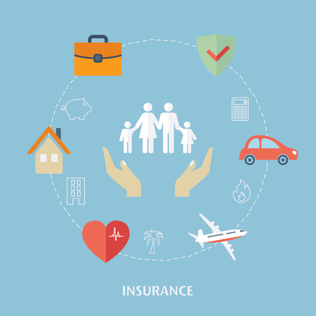 Ilustración de Concept for insurance icons. Flat design vector for web - Imagen libre de derechos