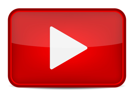 Illustration pour Red play button. Vector icon - image libre de droit