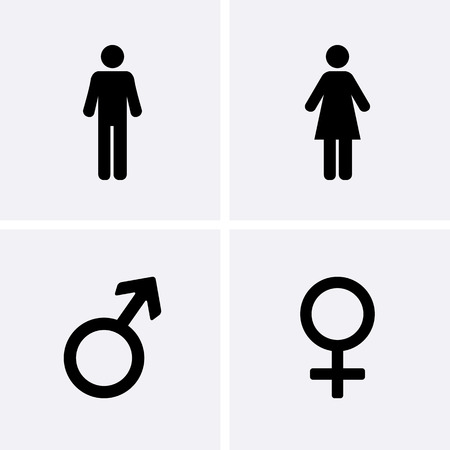 Illustrazione per Restroom Icons: man, woman, Male and female symbol - Immagini Royalty Free