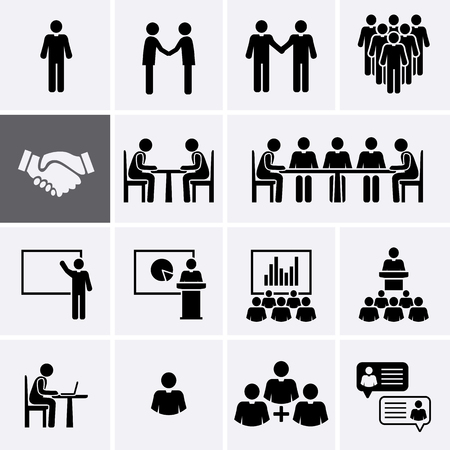 Illustrazione per Conference Meeting Icons set. Team work and human resource management. Vector pictogram - Immagini Royalty Free