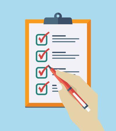 Illustration pour Check List Flat Icon. Vector checklist clipboard - image libre de droit
