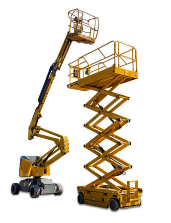 Photo for Two types of mobile aerial work platform - yellow scissor hydraulic lift and yellow hydraulic articulated boom lift on light background. Isolation. - Royalty Free Image