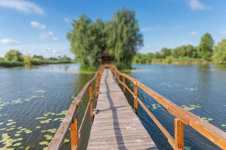 Photo for Wooden footbridge to the tiny island with hut among trees on lake in summer morning in selective focus. Staryi Solotvyn village, Ukraine - Royalty Free Image